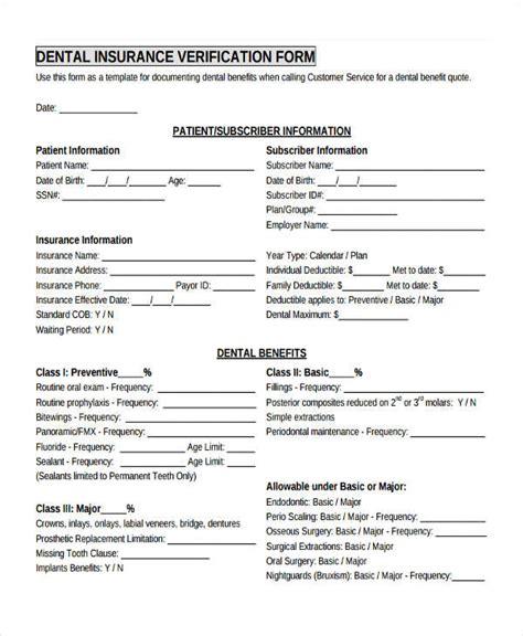 insurance verification form template 17 sle insurance verification forms