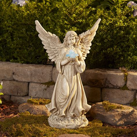 outdoor angel statues large with solar bird