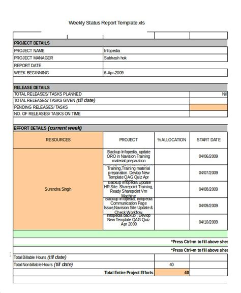 weekly status report template status report template 10 free word pdf documents