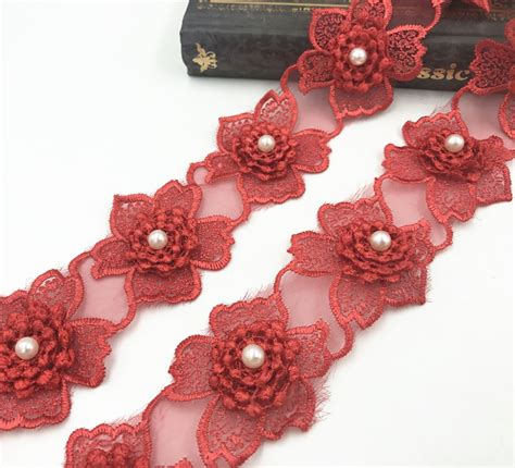 Handmade Lace Flowers - 17pcs organza embroidery flowers handmade lace trim