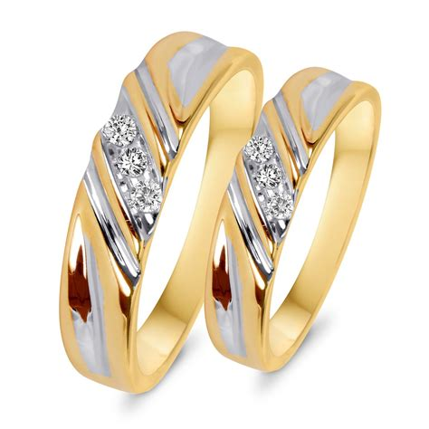 1 10 ct t w diamond his and hers wedding rings 10k