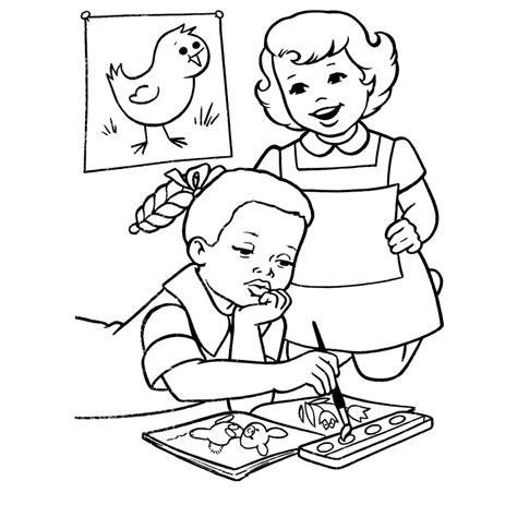 imagenes de niños trabajando matematicas para colorear dibujos para colorear ni 241 os trabajando escuela ideas