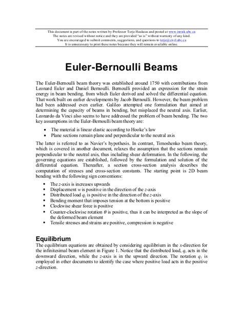 Euler bernoulli beams