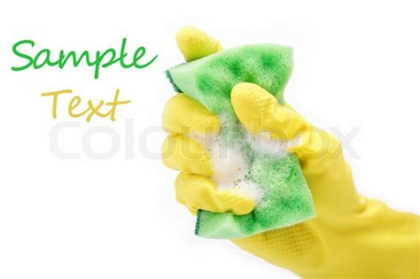amazing of stock photo hand with sponge cleaning bathroom hand with rubber glove and cleaning sponge on white