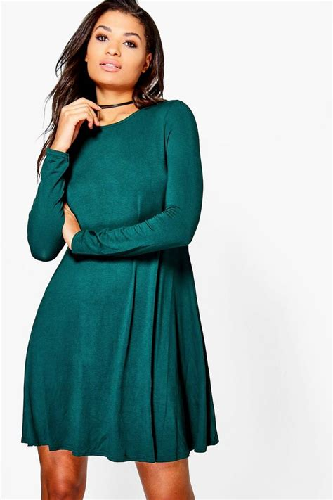 long swing dress april scoop neck long sleeve swing dress boohoo