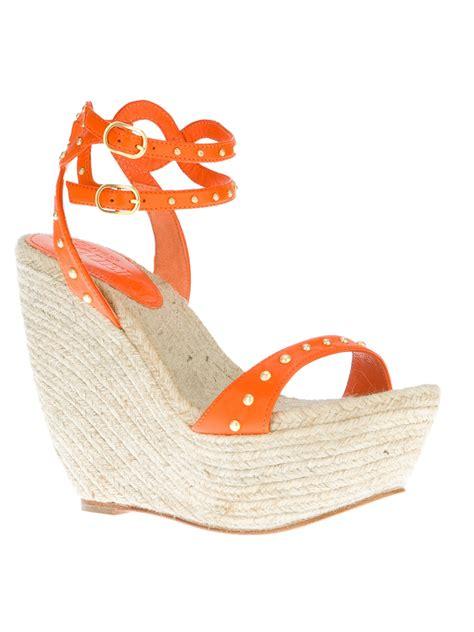 orange wedge sandals shoeniverse orange mcqueen orange wedge