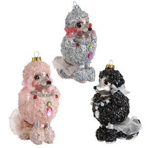 glass poodle ornaments covered in sequins and beads