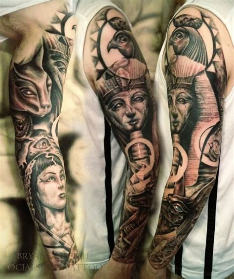 black and grey egyptian tattoo black and grey egyptian tattoos on left sleeve by brian