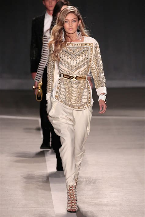 In Runway Looks by Balmain X H M Collection Launch Gigi Hadid S Most