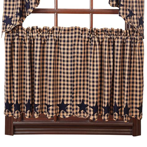 black country curtains star and check scalloped country curtain tiers navy black
