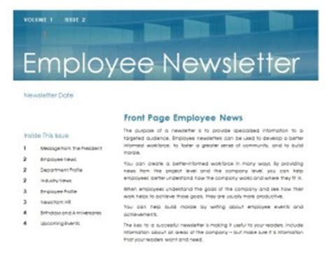 Employee Newsletter Template Word Templates Staff Newsletter Templates Free