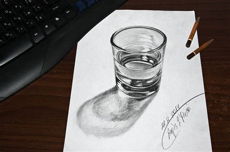 3d sketch drawing glass of water 3d by lapis lazuri on deviantart