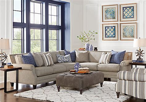 laf sofa rooms to go piedmont gray 3 pc sectional living room living room