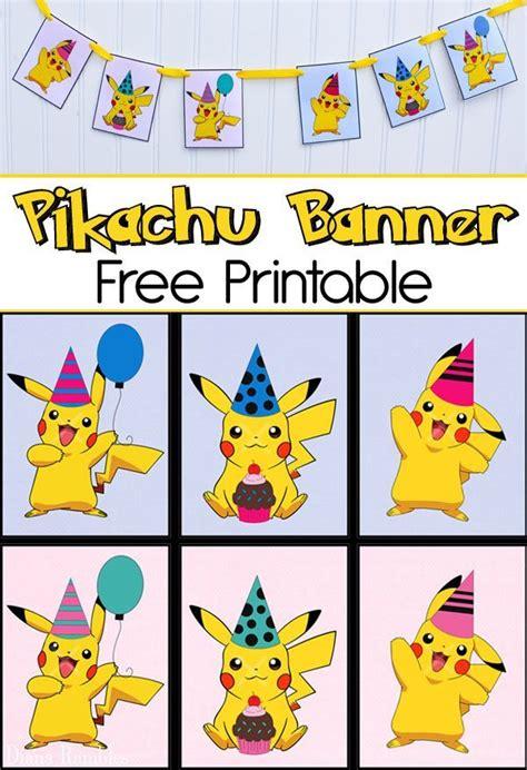 printable pokemon birthday banner free pikachu party banner printable for a pokemon party