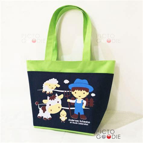 Tsum2 And Custom Nama tas jinjing kompartemen 2 ruang souvenir ultah anak