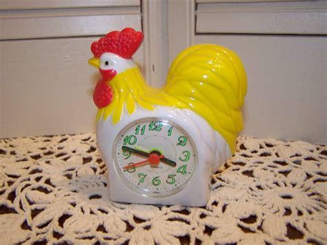 vintage quartz rooster alarm clock crows morning