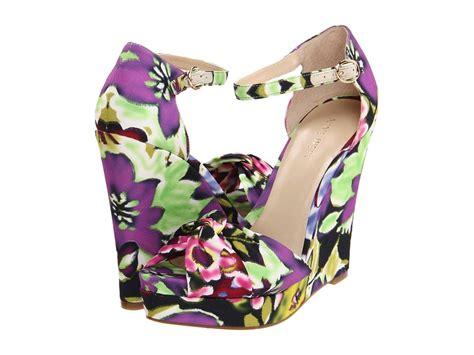 Wedges Flowers W 91 purple green wedding shoes floral wedges by nine west