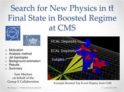 Search For In State Ppt Search For New Physics In Tt State In Boosted Regime At Cms Powerpoint