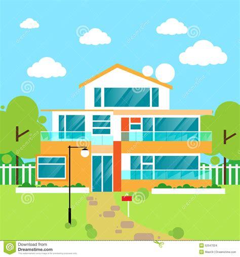 modern home design vector big modern villa house flat design vector stock vector