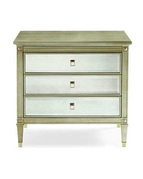 Antiqued Mirrored Nightstand by Caracole Emilee Antiqued Mirror 3 Drawer Nightstand