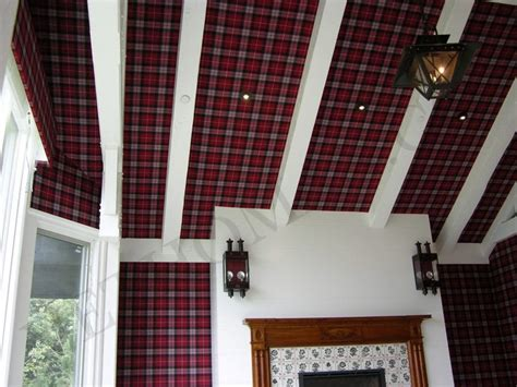 upholstery wall red plaid fabric on walls wall upholstery installation