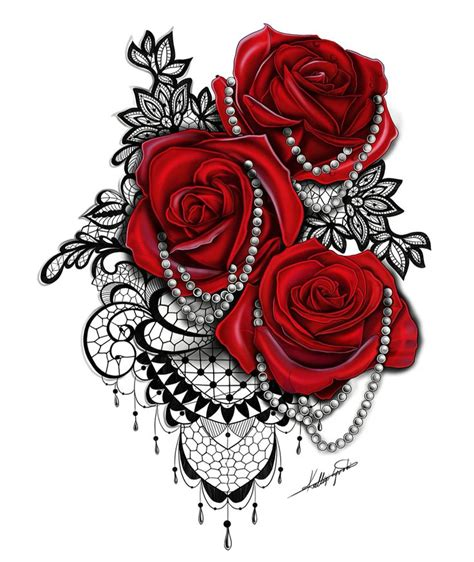 black rose lace tattoo pearl roses and black laces on