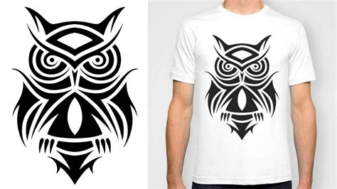 designing a t shirt tribal owl tattoo design youtube