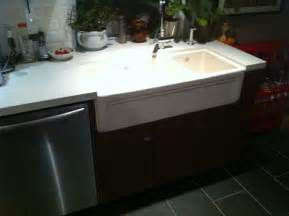 farmhouse sink into ikea kitchen cupboards hackers cabinet update how feel about our