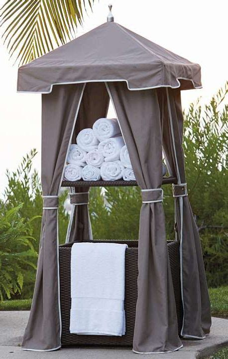 outdoor pool towel storage woven wicker towel valet towels love this and so cute