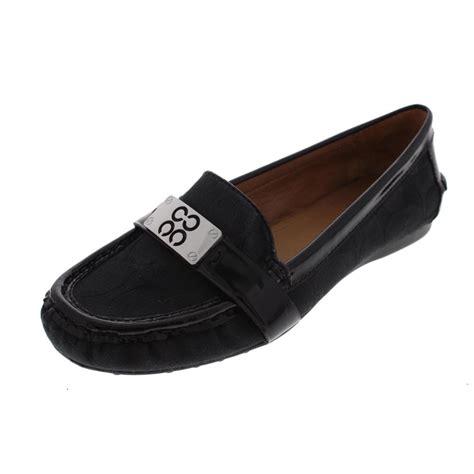 coach new farrera black canvas signature slip on loafers