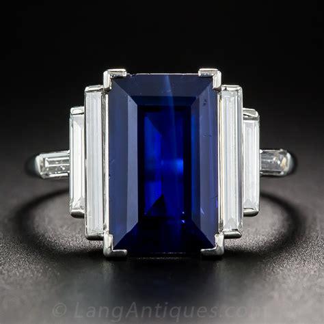 5 00 carat emerald cut sapphire and baguette