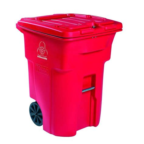 64 gallon trash can toter 64 gal wheeled regulated waste trash can rmn64 01red the home depot