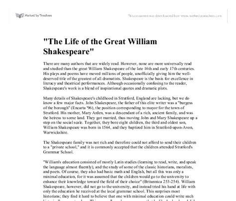 biography essay on william shakespeare quot the life of the great william shakespeare quot gcse drama