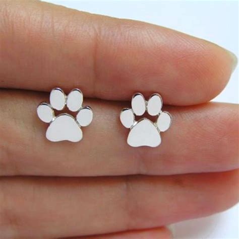 Cat Paw Earrings paw print stud earrings bengal cats
