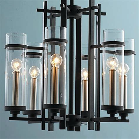 contemporary chandelier shades modern molten iron and 6 clear glass shades chandelier