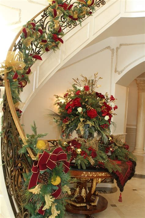 holiday stairway and entry decor christmas decor