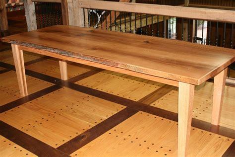 custom live edge quartersawn oak slab dining table by