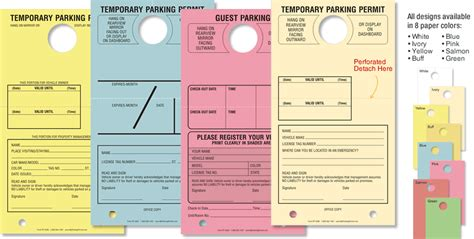 Paper Parking Hang Tags Myparkingpermit Temporary Parking Pass Template