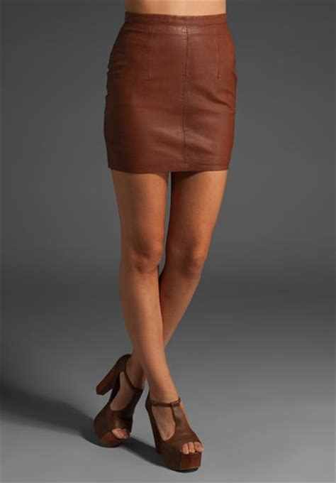 arabella ramsay leather mini skirt in brown lyst