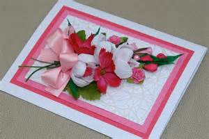 Handmade blank card with bouquet of pink handmade by aniamelisa