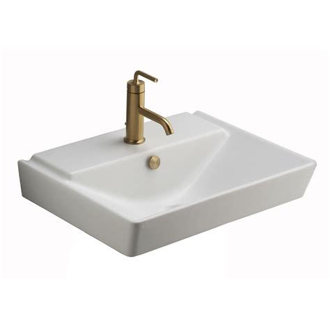 Shop Kohler Reve Honed White Fire Clay Wall Mount Kohler Bathroom Sink