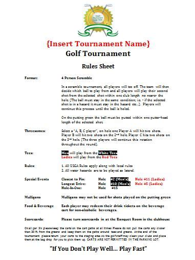 Golf Tournament Budget Template by Planning Guide Golf Tournament Planning Center