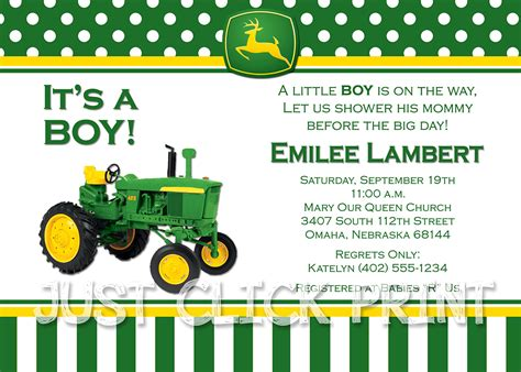 printable john deere birthday cards john deere inspired birthday photo invitation printable