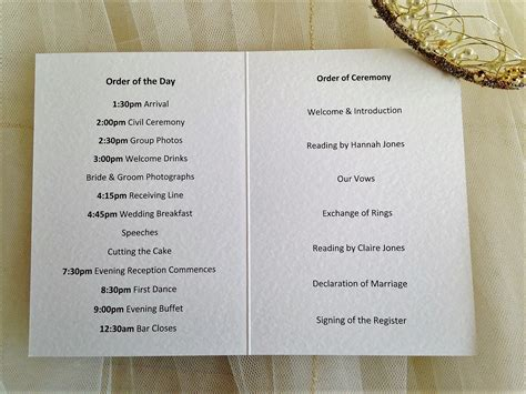 Layout Of A Wedding Order Of Service | small tandem bike wedding order of service books