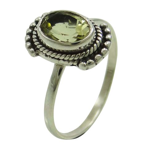 green amethyst 925 sterling silver ring band fashionable