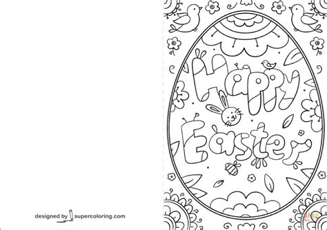Free Easter Card Templates To Colour by Happy Easter Doodle Card Coloring Page Free Printable