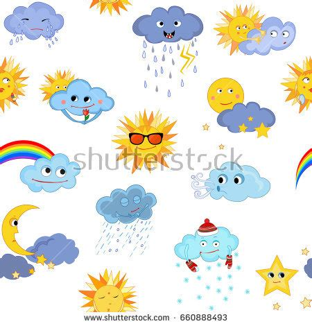 weather pattern drawing funny weather weather children vector drawing stock vector