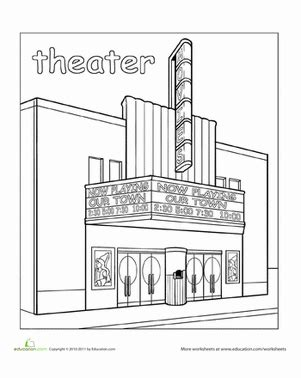 preschool coloring pages grocery store paint the town theater worksheet education com