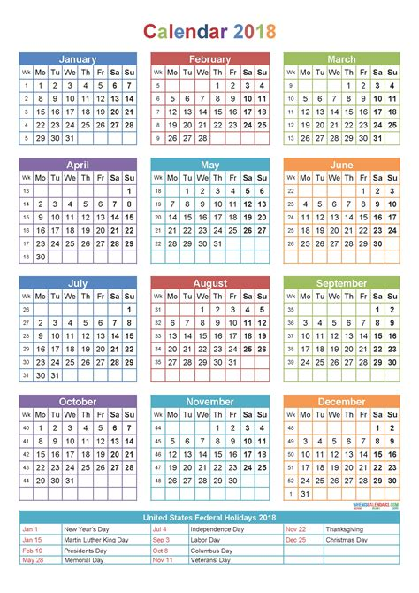 2018 yearly calendar template printable yearly calendar 2018 printable calendar