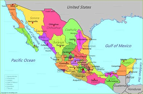 map for mexico mexico map map of mexico annamap
